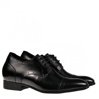 Hosso Prestige Black leather elevator shoes