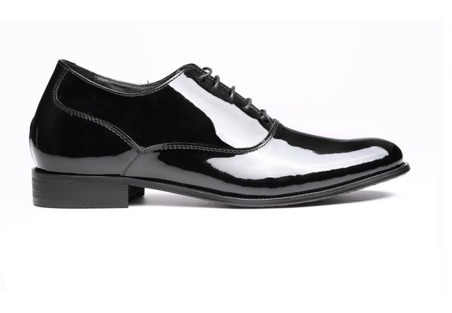 Mens Formal Height increasing shoes Shiny Black Leather