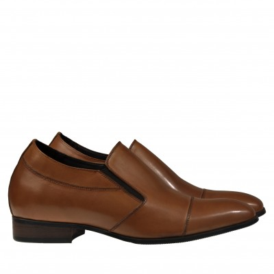 Slip on Premium Leather Elevator Shoes Brown