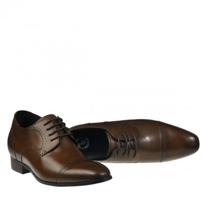 Hosso Prestige Brown leather elevator shoes