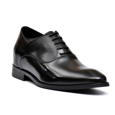 Hosso Premium leather formal black shoes, 7cm height increase