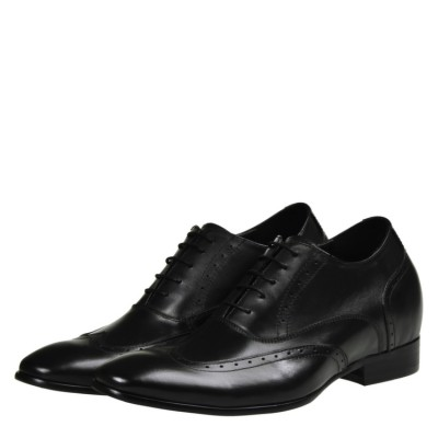 Stylish Black leather elevator shoes 8cm Taller