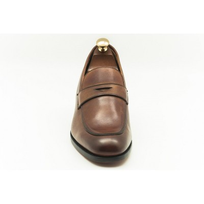 Slip on Premium Leather Elevator Shoes H6 Brown